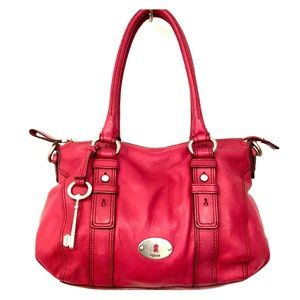 FOSSIL Raspberry Pink Full Grain Leather Handbag